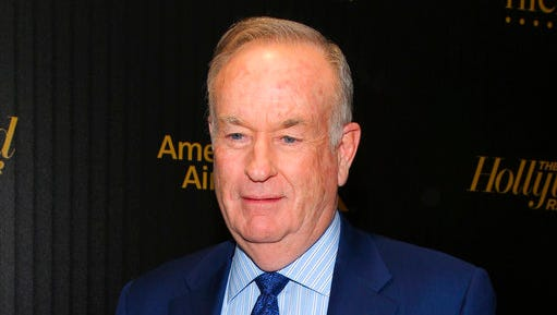"FILE - In this April 6, 2016, file photo, Bill O'Reilly attends The Hollywood Reporter's ""35 Most Powerful People in Media"" celebration in New York. According to a post on his personal website late Saturday, April 22, 2017, the former Fox News host will drop a new episode of his ""No Spin News"" podcast Monday evening, April 24, 2017."