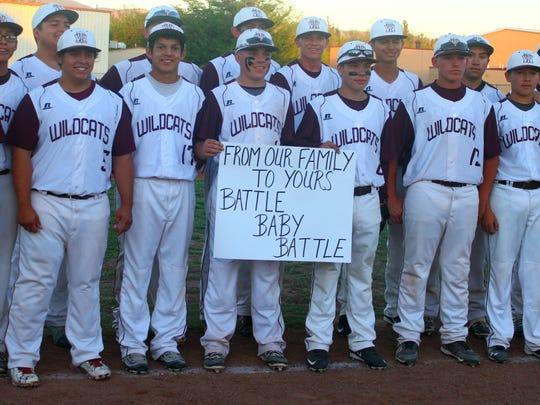 The Tularosa Wildcats baseball team showed their support for Alamogordo High School junior Jarod Johnson on Tuesday evening.