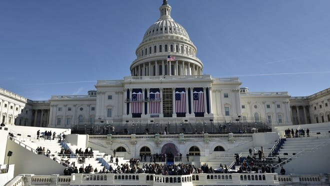 A general view shows the west side of the U.S. Capitol during a rehearsal for the inauguration of President-elect Donald Trump on Friday in Washington, D.C.
