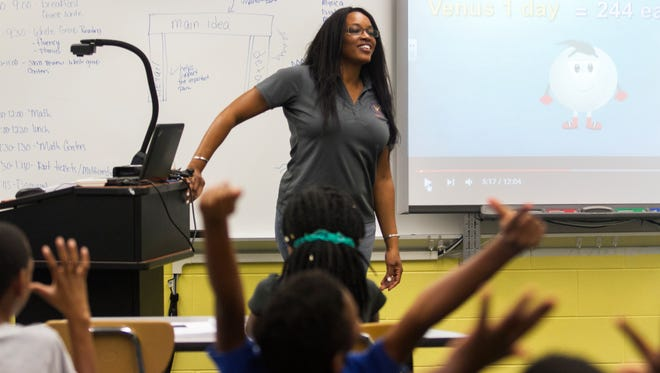 Third grade teacher Passhun Rogers teaches her students about the solar system on Tuesday in Fort Myers.