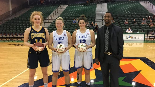 MTSU guards Abbey Sissom (second from left) and Jess Louro (second from right) were named to UTRGV Holiday Classic All-Tournament team in Edinburg, Texas on Dec. 20, 2017.
