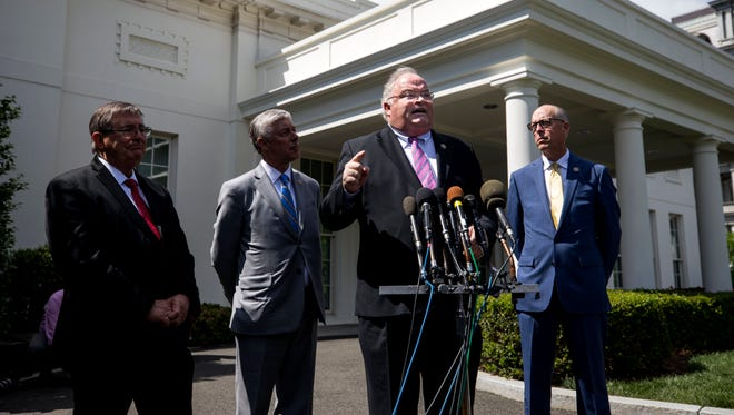 Rep. Billy Long, R-Springfield, and other House GOP lawmakers speak to the media about health care negotiations after meeting with President Trump on May 3, 2017.
