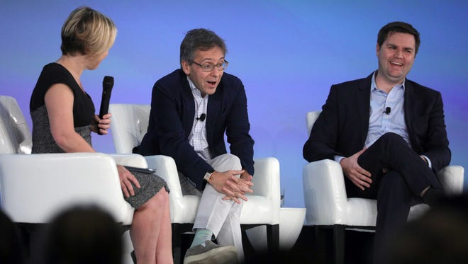 "Gillian Tett, U.S. managing editor of the Financial Times; Ian Bremmer, a global analyst; and J.D. Vance, venture capitalist and ""Hillbilly Elegy"" author, talk during a panel discussion Monday, Nov. 13, 2017, at the Global Financial Leadership Conference at The Ritz-Carlton Beach Resort in North Naples."