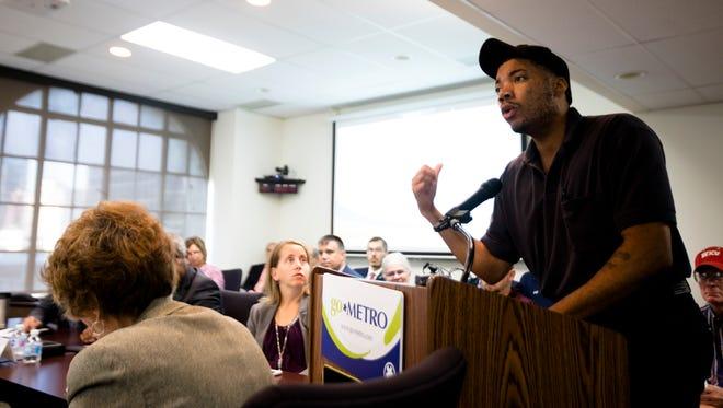 Jamar Dunbar, SORTA bus driver, address the SORTA Board at a public meeting on Wednesday, July 25, 2018, in Cincinnati.