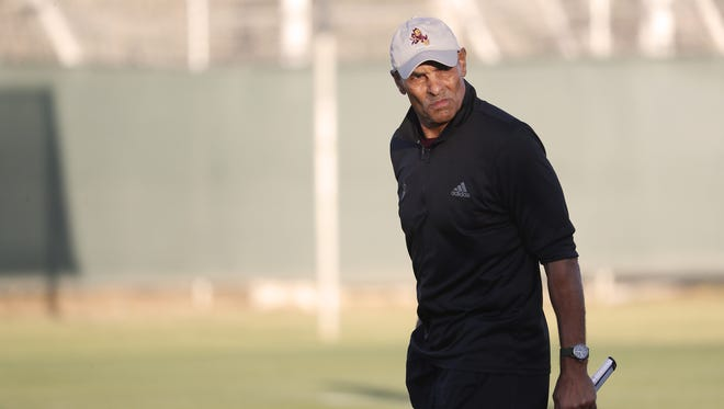ASU head coach Herm Edwards walks the field during the Spring Game at Sun Devil Soccer Stadium in Tempe, Ariz. on April 13, 2018.