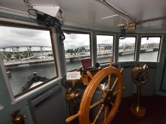 A view from the helm of the nearly century-old tug John Purves, docked at the Door County Maritime Museum. Tours of the tug will be available during this weekend's Door County Classic and Wooden Boat Festival at the museum.
