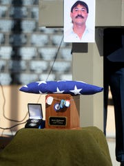 The memorial service for James Dickinson at the Montana Veterans Memorial on April 7.