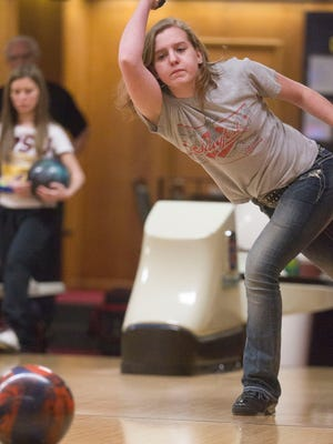 City High's Brooke Shaw practices at Colonial Lanes on Monday,.