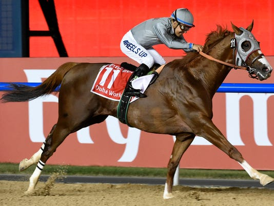 FILE - In this Saturday, March 26, 2016, file photo, California Chrome, idden by Victor Espinoza, wins the Dubai World Cup horse race at Meydan Racecourse in Dubai, United Arab Emirates. Now a regal-looking 5-year-old, Chrome flashed his brilliance of two years ago by overwhelming a talented field and winning the $10 million Dubai World Cup this past Saturday. (AP Photo/Martin Dokoupil, File)