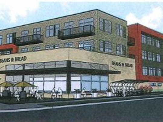 The proposed apartment and commercial building for