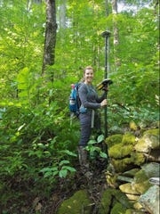 Appalachian State University alumna Hayley Wynn '17 hikes through the Great Smoky Mountains National Park (GSMNP) to perform wildfire mitigation following the Chimney Tops 2 Fire that took place in November 2016.
