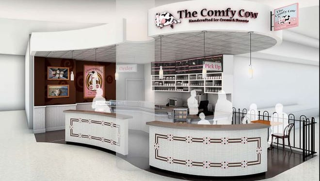 A rendering of planned Comfy Cow at the Louisville International Airport.