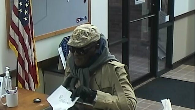 Surveillance image of the Oct. 25 robbery of a US Bank in Blue Ash.