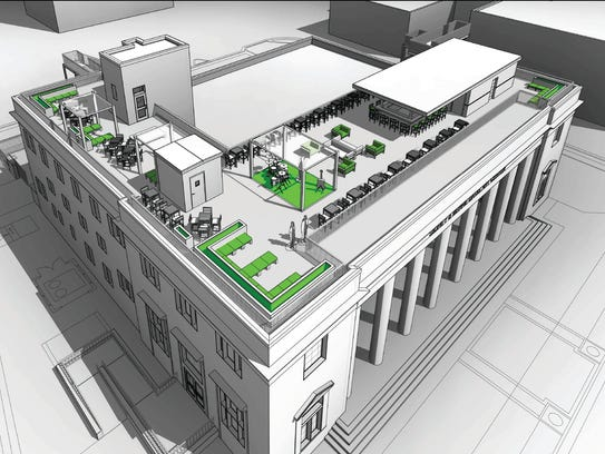 An artist's rendering of the planned rooftop bar and