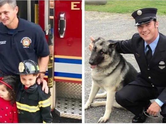 Ivan Flanscha, 50, left, and Zachary Anthony, 29, were killed in the line of duty when the old Weaver Organ and Piano building collapsed on March 22. A GoFundMe page has been set up to help their families and the families of two other firefighters injured during the collapse.