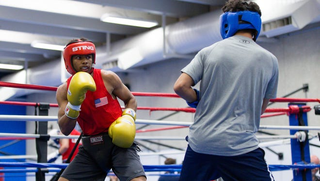 USA Boxing's Shakur Stevenson (red) trains with Antonio Vargas (blue)  at the Olympic Training Center in May.