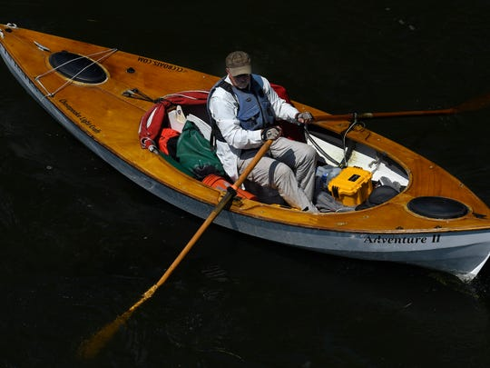 John Guider makes his way down the Holston River in Kingsport, Tenn., on Sept. 5, 2016, as he starts his trip to retrace the journey John Donelson took  as one of the founders of Nashville.