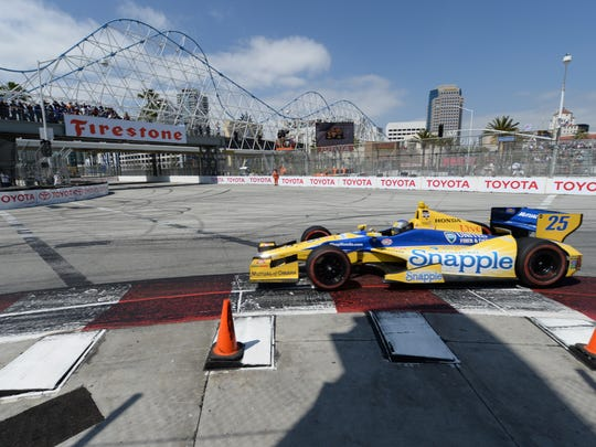 Marco Andretti at last year's race in Long Beach.