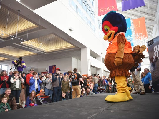The National Pheasant Fest & Quail Classic mascot makes an appearance before The Bird Dog Parade Friday, Feb. 16, at the Denny Sanford Premier Center. There were 44 different sporting dog breeds that participated in the parade.
