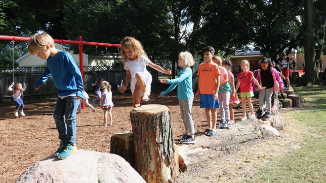 Natural Play and Learn Spaces are based on the idea that time in nature promotes positive social behavior, encouraging children to play and work together.