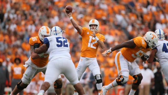 Tennessee Volunteers quarterback Quinten Dormady (12) passes the ball against the Indiana State Sycamores during the first half at Neyland Stadium. Mandatory Credit: Crystal LoGiudice-USA TODAY Sports