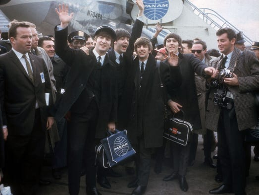 The Beatles arrive in New York for their first U.S.