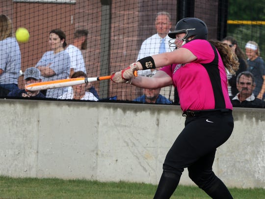 Stewarts Creek's Loryn Sherwood hits a single in the District 7-AAA championship game last year. Sherwood hit 23 homers and drove in 62 last season.
