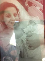 Hanna Rhoden after giving birth to her daughter Kylie