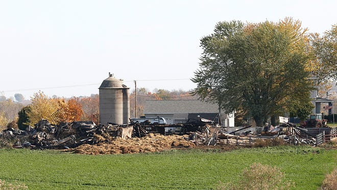 A Fond du Lac County barn near St. Cloud was destroyed in a fire Tuesday.