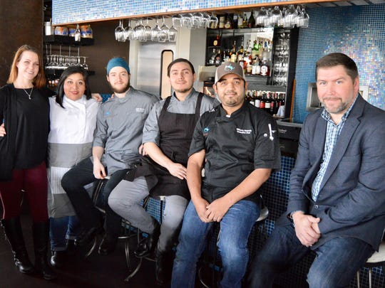 Chef Wilberto Sauceda and his team at The Lazy Goat, from left to right, Lauren Martin (event manager), Tania Harris (pastry chef), Justin Brister ( sous chef), Diego Campos (sous chef), Wilbert Sauceda (head chef) and Vince Mathis (general manager).