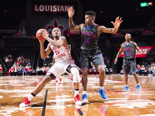 JaKeenan Gant, a transfer from Missouri, drives to the basket during UL's win  Louisiana College Wildcats last week at the Cajundome.