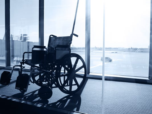 Wheelchair Service in Airport Terminal. Window View
