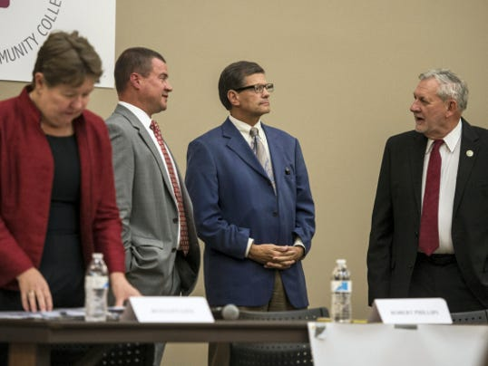 Lebanon County commissioner candidates, from left, Jo Ellen Litz, Chris Tarsa, Bob Phillips and Bill Ames prepare for a candidate forum held at HACC's Lebanon Campus and sponsored by the Lebanon Valley Chamber of Commerce and the Lebanon Daily News earlier this month.