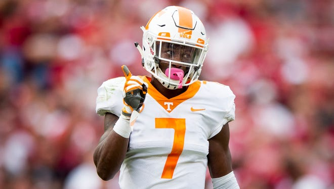 Tennessee defensive back Rashaan Gaulden (7) gestures after making a play during Tennessee's game against Alabama at Bryant Denny Stadium in Tuscaloosa on Saturday, Oct. 21, 2017.