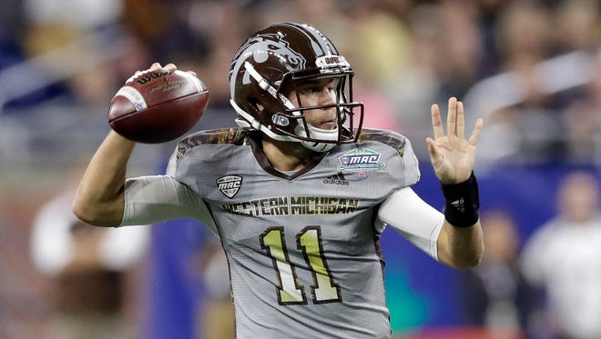 Western Michigan quarterback Zach Terrell throws during the first half of the Mid-American Conference championship NCAA college football game against Ohio, Friday, Dec. 2, 2016, in Detroit.