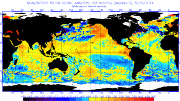 Sea surface temperatures on May 29, 2014