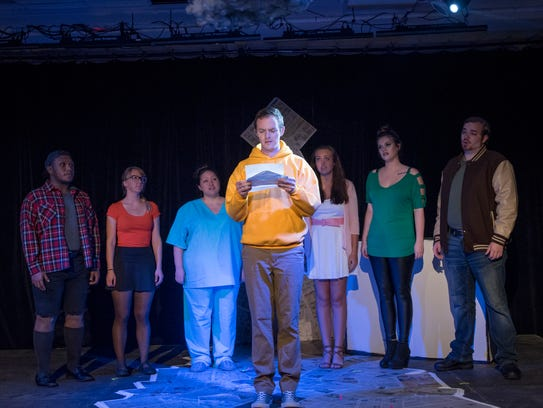 "Michii McNutt as Van, left to right, Mnemosyne Heileman as Marcy, Courtney Moseley as Van's sister, Marshall Corzette as CB, Sierra Hobbs as CB's sister, Sadie Hight as Tricia, and Steven McHaley as Matt rehearse ""Dog Sees God"" a the Pensacola Cultural Center in Pensacola on Tuesday, Oct. 17, 2017."