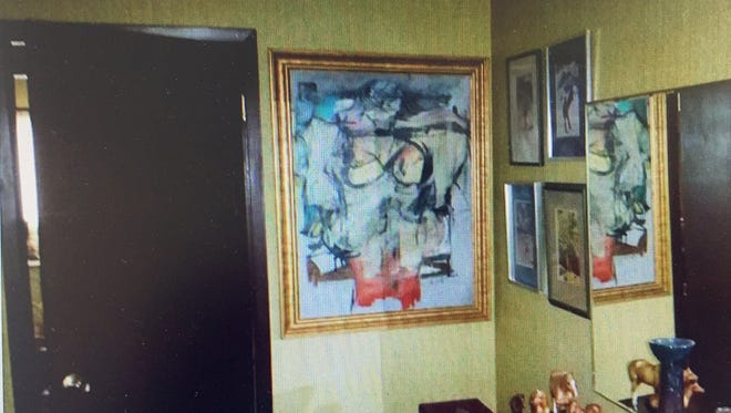 A pictue of how Woman Ochre was displayed inside the home of Jerome and Rita Alter before it was discovered.