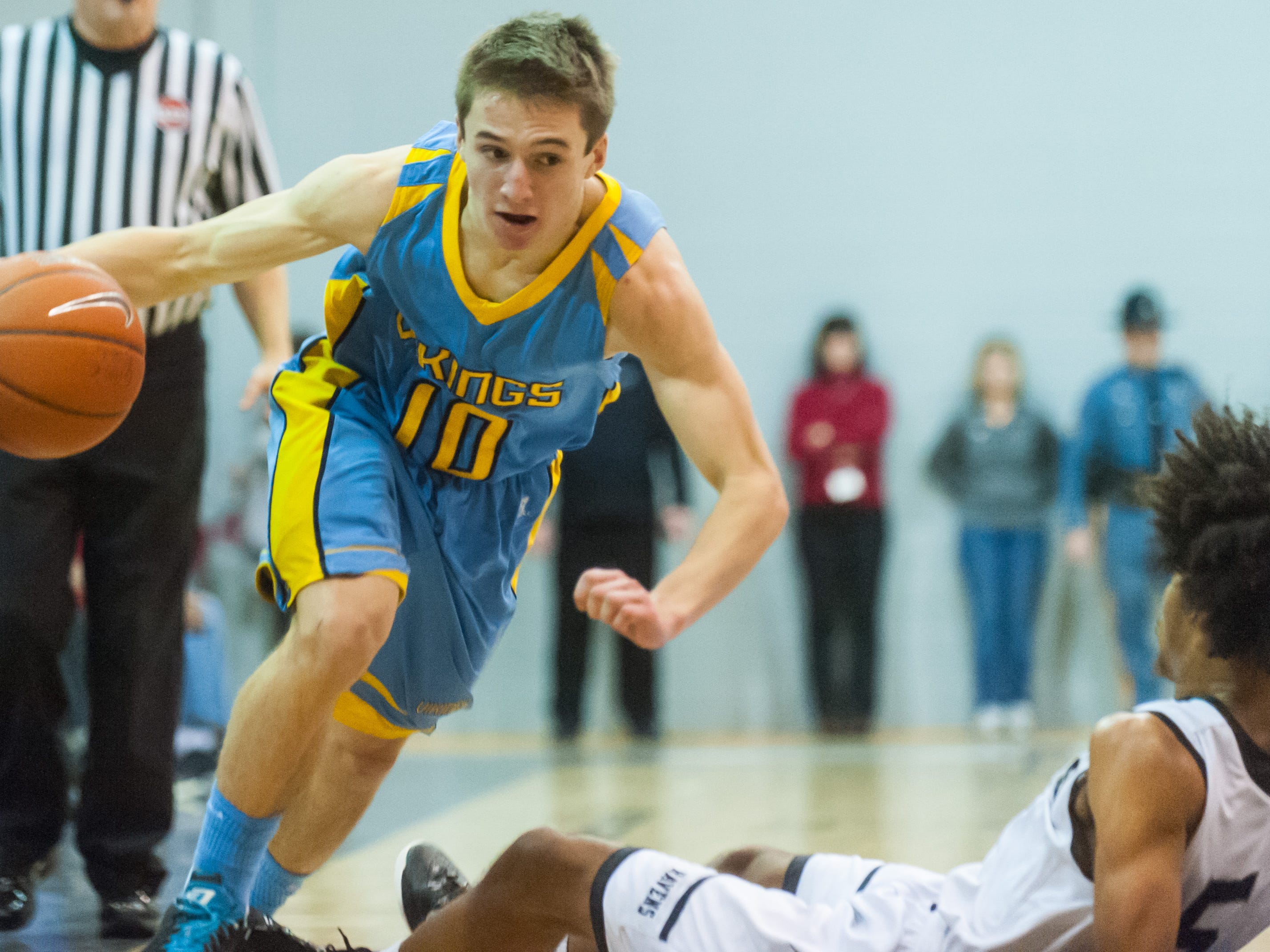 Cape Henlopen guard Ryan Thornburg (10) drives against Sussex Tech on Friday night at Sussex Tech.