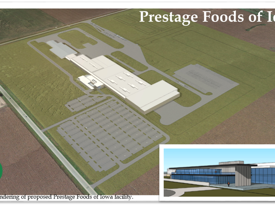 A rendering of a new Prestage Farms pork processing