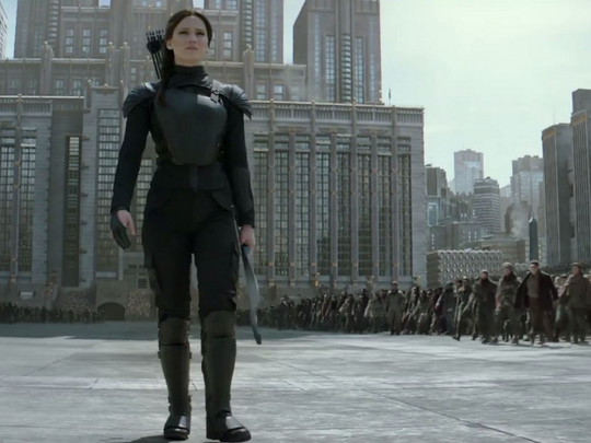 "The final film of the ""Hunger Games"" series sees Katniss Everdeen (Jennifer Lawrence) lead her people into the Capitol"