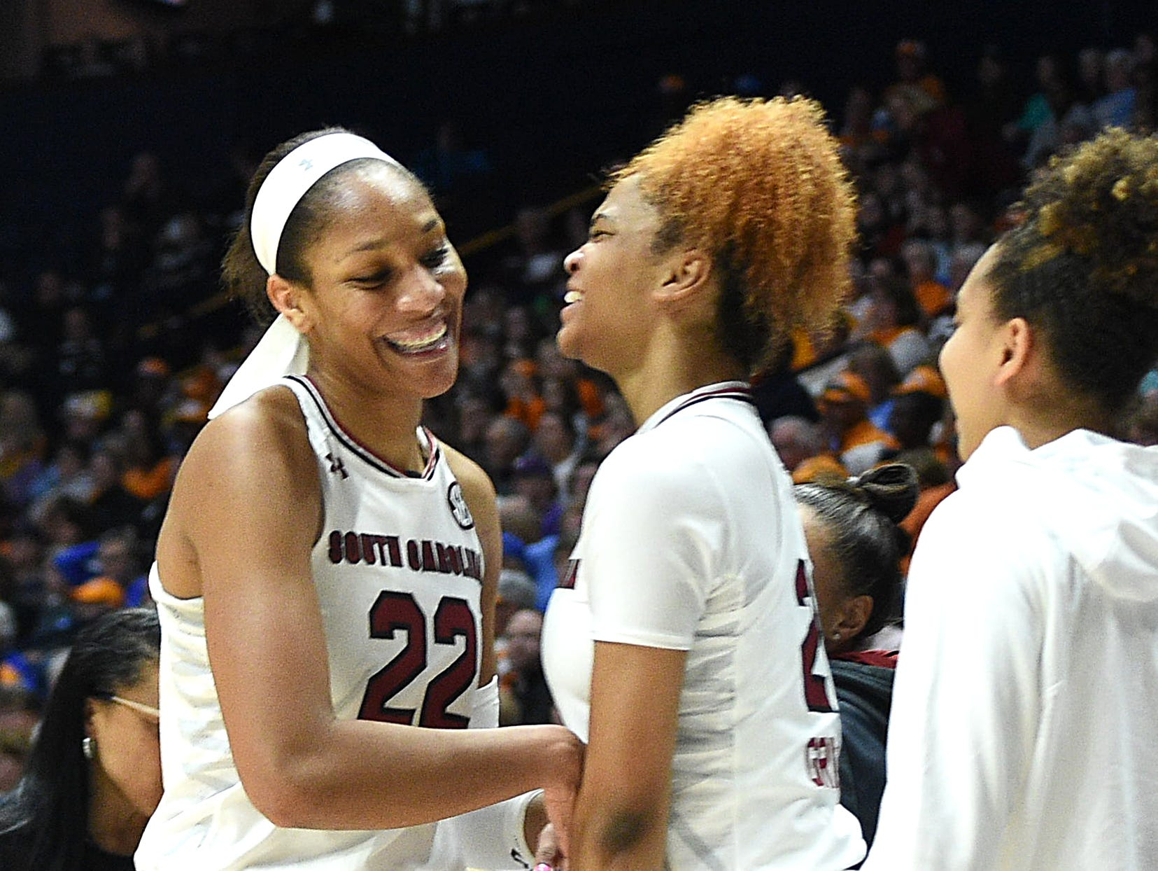 South Carolina Gamecocks forward A'ja Wilson (22) celebrates with team mates in the final minutes of a game against Tennessee against during the quarterfinals at the 2018 SEC Women's Basketball Tournament at Bridgestone Arena in Nashville on Thursday, March 2, 2018.