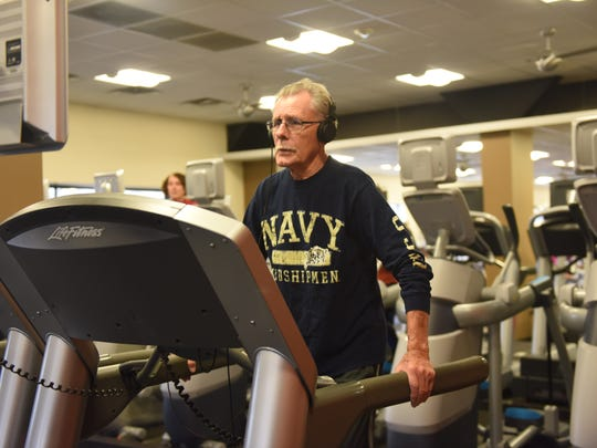Tony Hamel of Poughkeepsie exercises on a treadmill at Mike Artega's Health and Fitness Centers in Poughkeepsie Sunday.