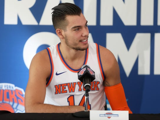 """""""Willy"""" Hernangomez, of the Knicks, is shown at media"""