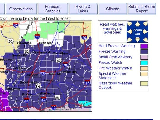 Central Mississippi is under a Freeze Warning.