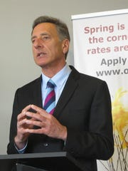 """Gov. Peter Shumlin announces a new round of low-interest """"Heat Saver"""" loans for home energy improvements at an Earth Day news conference Wednesday in Burlington."""