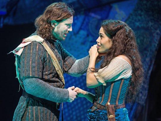 Andrew Samonsky as Phoebus and Ciara Renée as Esmeralda