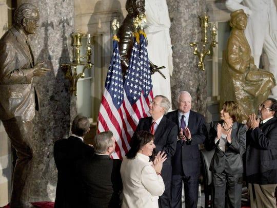 John Boehner (from left), Mitch McConnell,  John McCain,