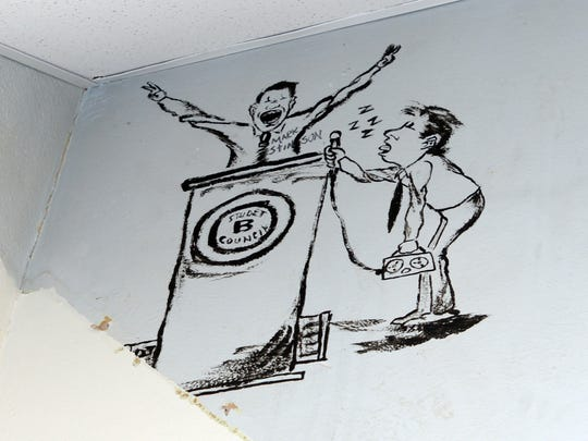 A section of a mural recently discovered while replacing