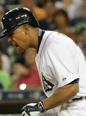 Tigers centerfielder Anthony Gose lets out a yell after striking out during the seventh inning Monday at Comerica Park.